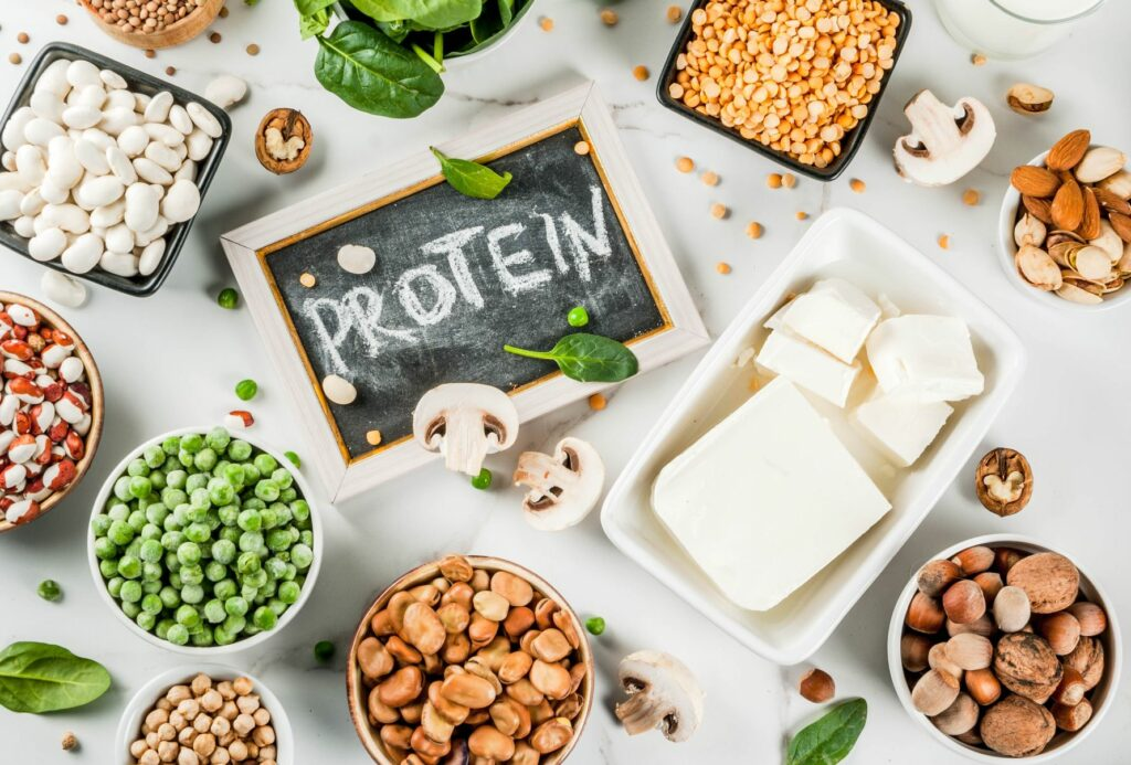 A spread of different food items that are high in protein.