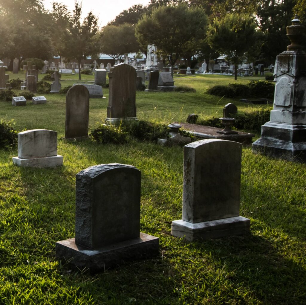 A full graveyard with gravestones.