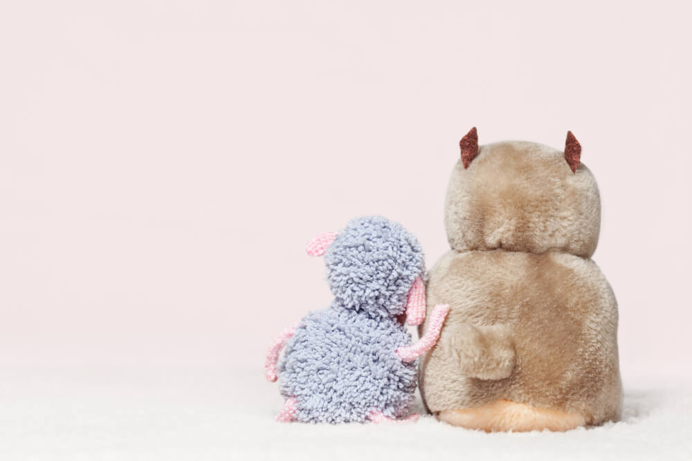 Lamb toy leaned on its friend beaver. Friendship, friends from childhood, rely on a friend concept. Rear view with empty space