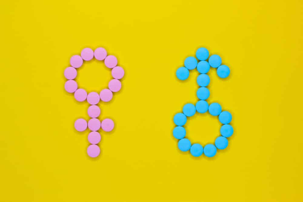 Female hormones estrogen: estradiol, estriol and progesterone and male hormone testosterone. Gender signs from pills on yellow background. Anabolic.