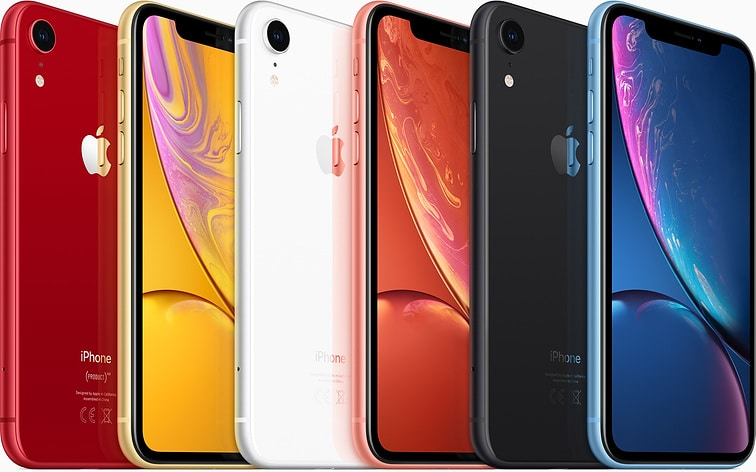 iPhone XR lineup in various colors
