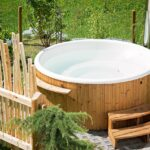 Wooden circular outdoor hot tub