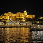 Danube River view of the Budapest Royal Palace at night