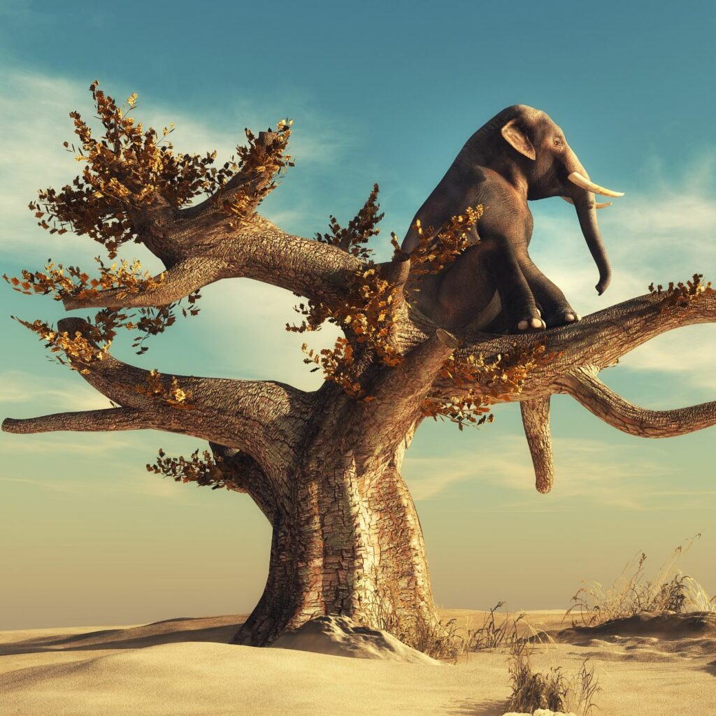 An animation of an elephant at the top of a tree.
