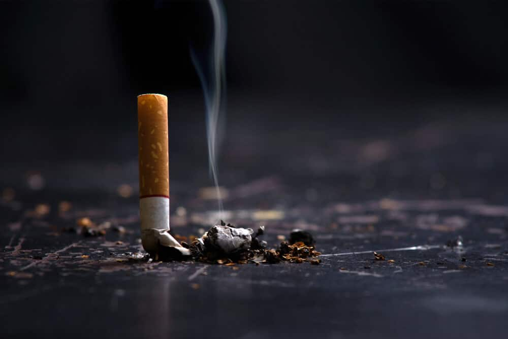 World No Tobacco Day Concept Stop Smoking.tobacco cigarette butt on the floor